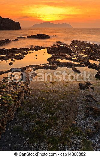 θαλασσογραφία , ηλιοβασίλεμα  - csp14300882