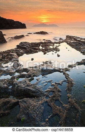 θαλασσογραφία , ηλιοβασίλεμα  - csp14416659