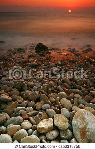 θαλασσογραφία , ηλιοβασίλεμα  - csp8318758