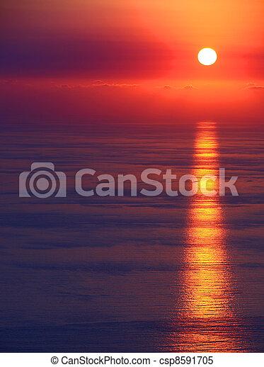 θαλασσογραφία , ηλιοβασίλεμα  - csp8591705