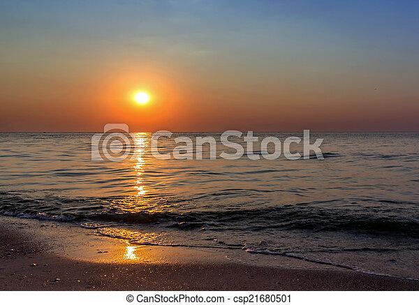 θαλασσογραφία , ηλιοβασίλεμα  - csp21680501