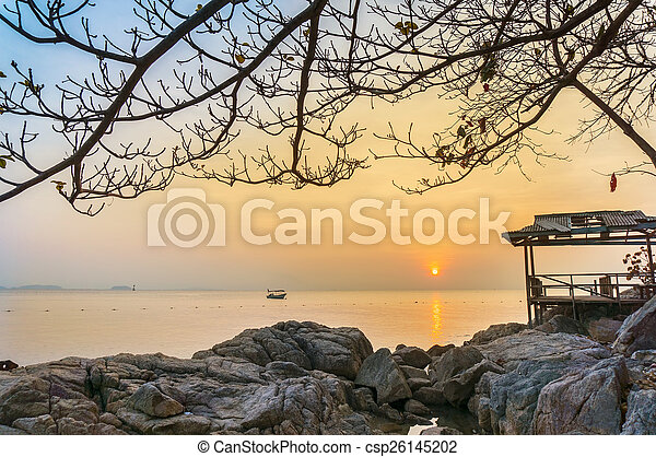 θαλασσογραφία , ηλιοβασίλεμα  - csp26145202