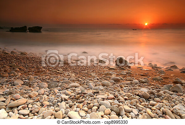 θαλασσογραφία , ηλιοβασίλεμα  - csp8995330