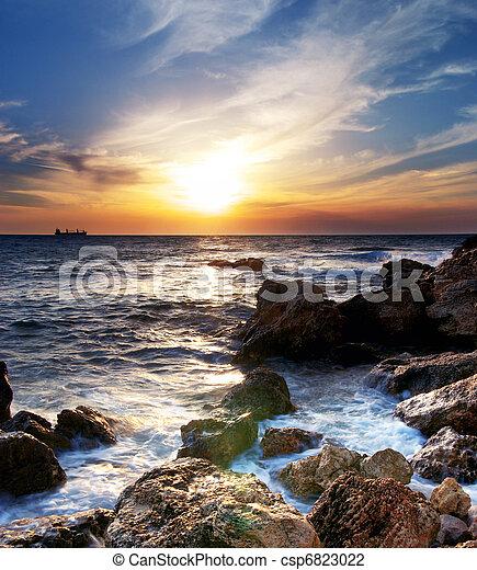 θαλασσογραφία , ηλιοβασίλεμα  - csp6823022