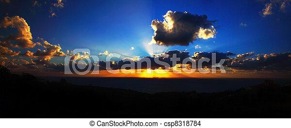 θαλασσογραφία , ηλιοβασίλεμα  - csp8318784