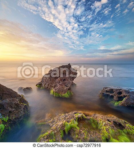 θαλασσογραφία , όμορφος , ηλιοβασίλεμα  - csp72977916