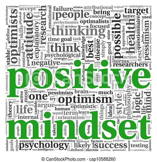 θετικός , γενική ιδέα , ετικέτα , σύνεφο , mindset  - csp10588260