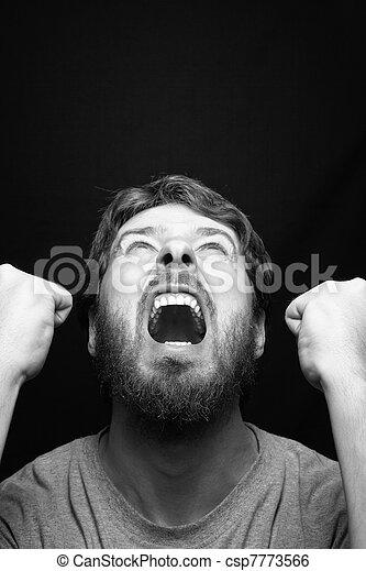 θυμωμένος , επαναστάτης , ξεφωνίζω , άντραs  - csp7773566