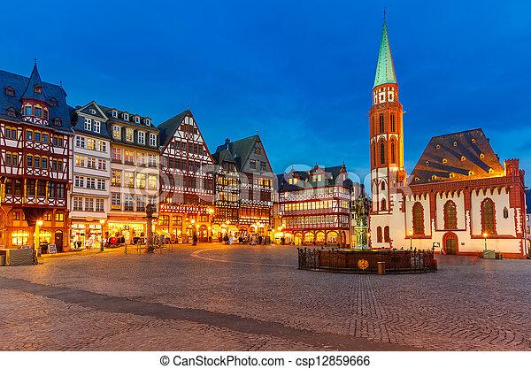 ιστορικός , frankfurt , κέντρο , νύκτα  - csp12859666