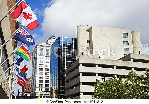 κάτω στην πόλη , εθνικός , μεγαλειώδης , σημαίες , καταρράκτης  - csp4041312