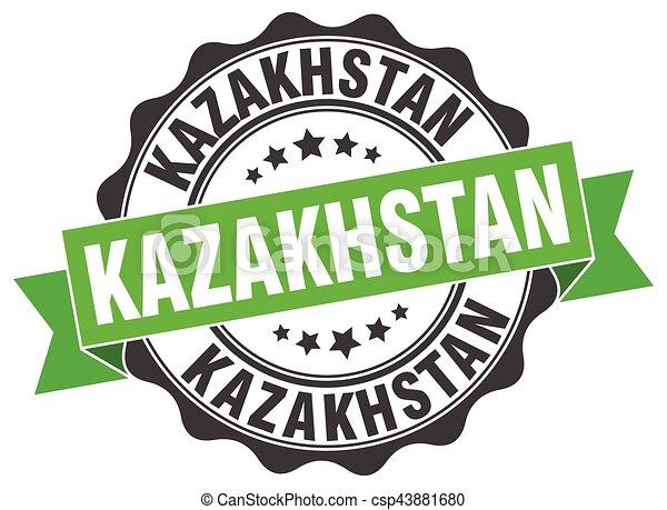 καζακστάν , στρογγυλός , ταινία , σφραγίζω  - csp43881680
