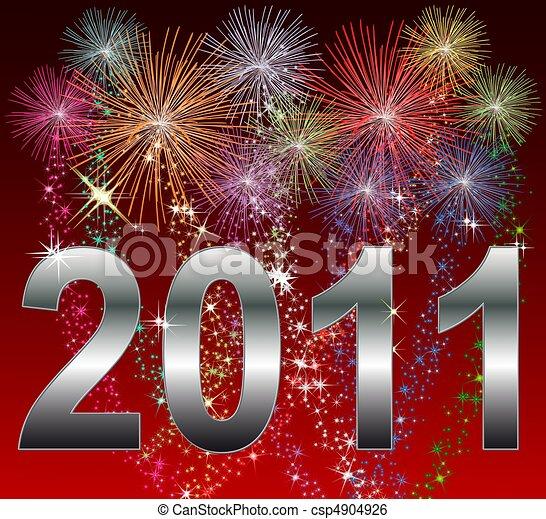 καινούργιος , ευτυχισμένος , 2011, έτος  - csp4904926