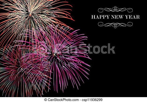 καινούργιος , πυροτεχνήματα , ευτυχισμένος , φόντο , έτος  - csp11936299