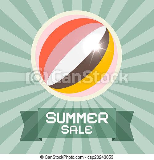 καλοκαίρι , μπάλα , retro , πώληση , τίτλοs  - csp20243053