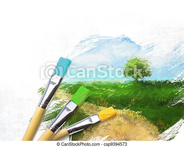 καμβάς , καλλιτέχνηs , απεικονίζω , ακουμπώ , τελειωμένο , μισό , τοπίο  - csp9394573