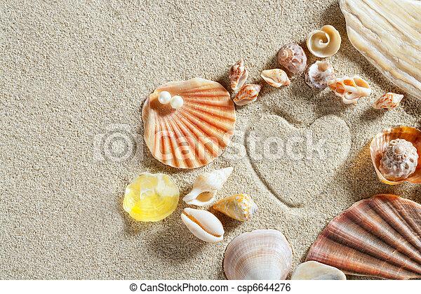καρδιά , καλοκαίρι , άμμοs , διακοπές , σχήμα , τυπώνω , αγαθός ακρογιαλιά  - csp6644276