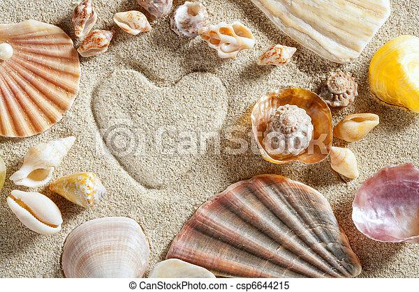 καρδιά , καλοκαίρι , άμμοs , διακοπές , σχήμα , τυπώνω , αγαθός ακρογιαλιά  - csp6644215