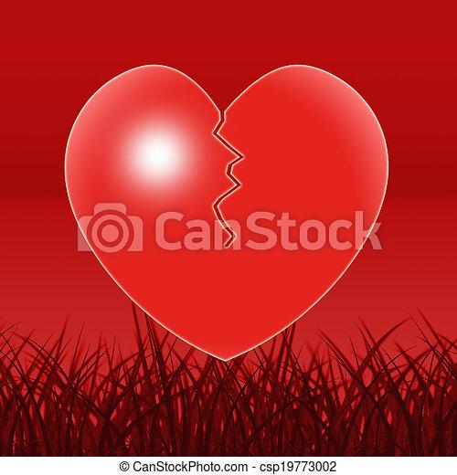 καρδιά , μοναξιά , σπασμένος , θλίψη , αθυμία , αποδεικνύω  - csp19773002