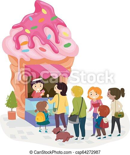 κατάστημα , stickman, πάγοs , εικόνα , γραμμή , κρέμα  - csp64272987