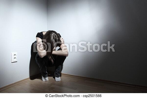 κατέθλιψα , γυναίκα , νέος  - csp2501566