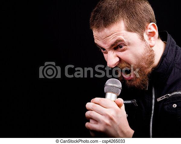 κινητή καρέκλα , μικρόφωνο , αρσενικό , θυμωμένος , ξεφωνίζω  - csp4265033