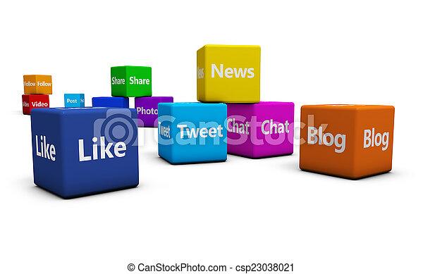 κοινωνικός , μέσα ενημέρωσης , γενική ιδέα , ιστός , αναχωρώ  - csp23038021