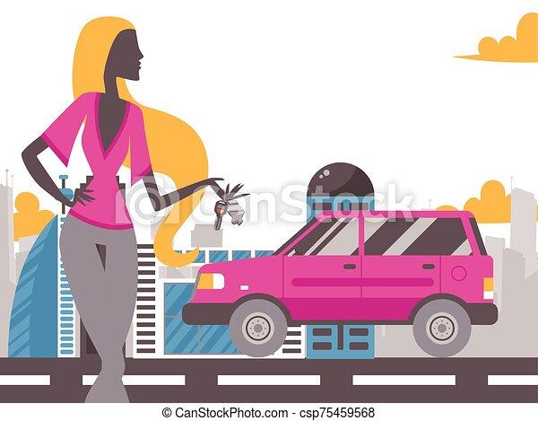 κορίτσι , διαμέρισμα , νέος , κράτημα , αυτοκίνητο , καινούργιος , περίγραμμα , μικροβιοφορέας , κλειδί , ρυθμός , όμορφος , road., μόδα , illustration., αυτοκίνητο , κλειδιά , διατυπώνω , μοντέλο , γυναίκα , cityscape  - csp75459568