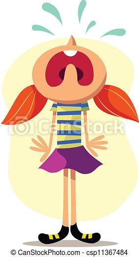 κορίτσι , μικροβιοφορέας , κλαίων , εικόνα  - csp11367484