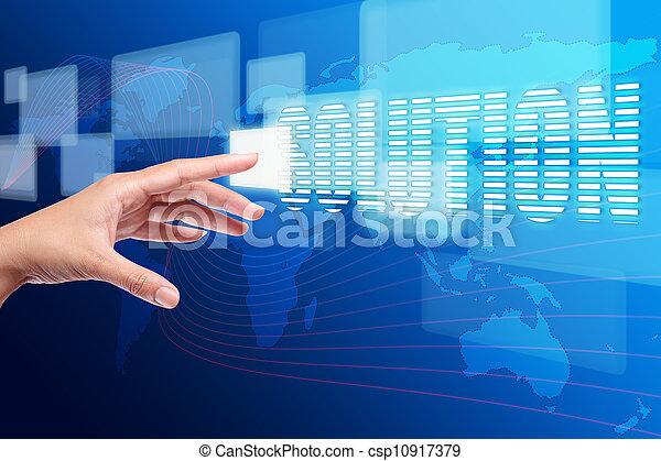 κουμπί ανοίγω δρόμο σπρώχνοντας , διάλυμα , χέρι , άγγιγμα , επεμβαίνω , οθόνη  - csp10917379