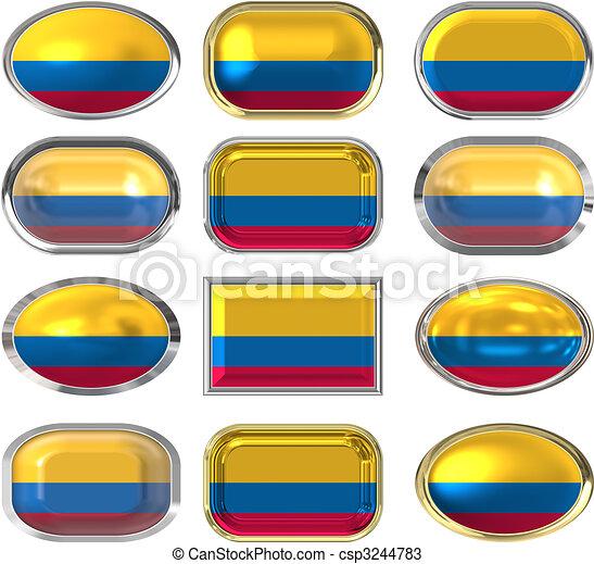 κουμπιά , δώδεκα , σημαία , κολομβία  - csp3244783