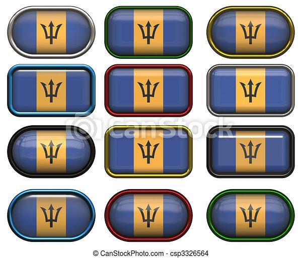 κουμπιά , δώδεκα , σημαία , barbados  - csp3326564