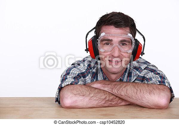 κουραστικός , μεγάλα ματογυαλιά , προστασία , άντραs , ακοή  - csp10452820