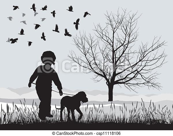κουτάβι , χειμώναs , αγόρι  - csp11118106