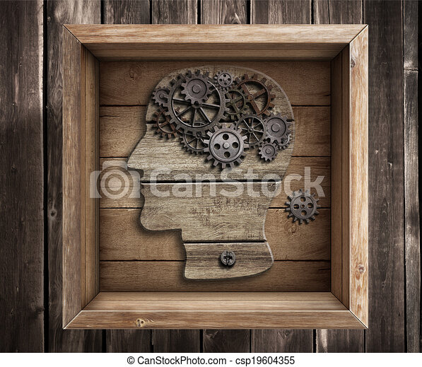 κουτί , δουλειά , σκεπτόμενος , concept., εγκέφαλοs , έξω , creativity. - csp19604355