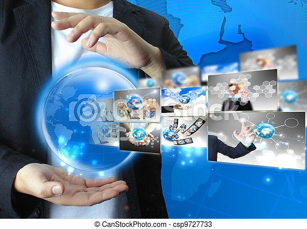 κράτημα , επιχειρηματίας , .technology, κόσμοs , γενική ιδέα  - csp9727733