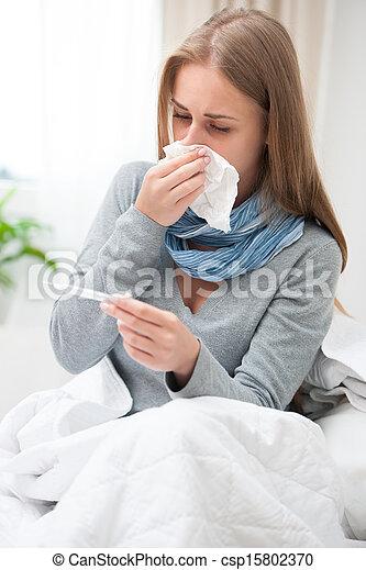κρύο , γυναίκα , νέος , έχει  - csp15802370
