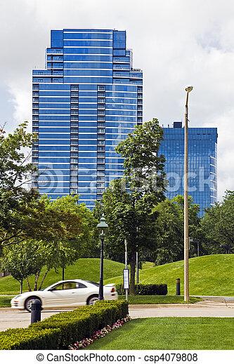 κτίρια , μοντέρνος , μεγαλειώδης , καταρράκτης  - csp4079808