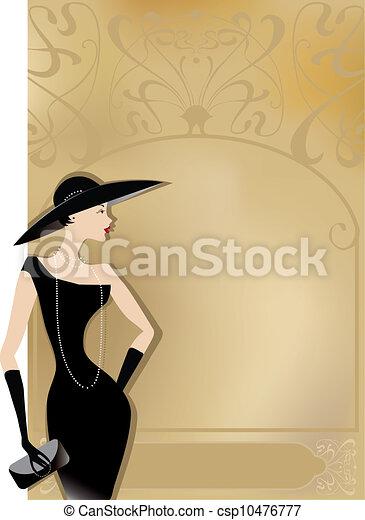 κυρία , αφίσα , μαύρο , retro  - csp10476777