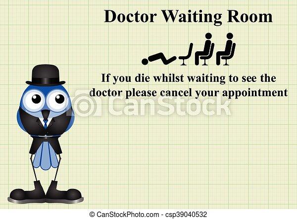 κωμικός , αναμονή , σήμα , δωμάτιο , γιατρός  - csp39040532