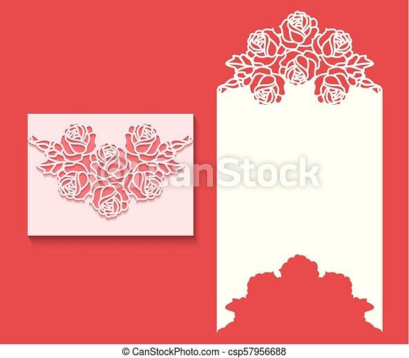 κόβω , λέηζερ , card1.eps, πρόσκληση , φάκελοs , φόρμα , γάμοs  - csp57956688