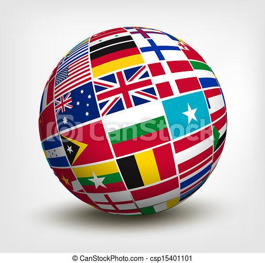κόσμοs , μικροβιοφορέας , σημαίες , globe., illustration. - csp15401101