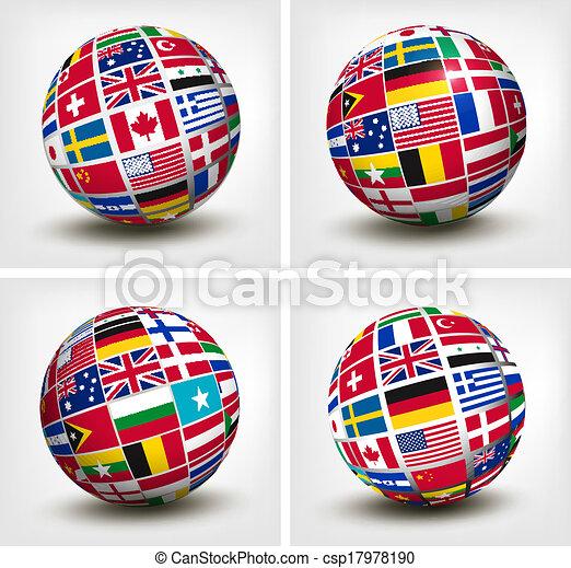 κόσμοs , μικροβιοφορέας , σημαίες , globe., illustration. - csp17978190