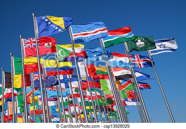 κόσμοs , σημαίες , τριγύρω , άκρη γηπέδου  - csp13928029