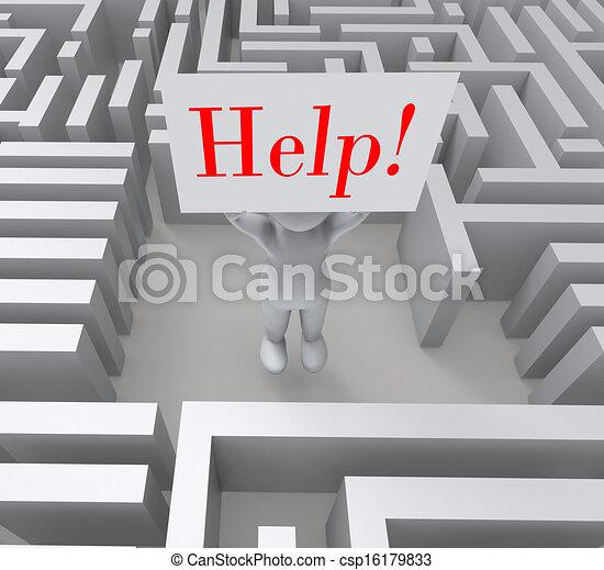 λαβύρινθος , αποδεικνύω , βοήθεια , αόρ. του lose , σήμα  - csp16179833