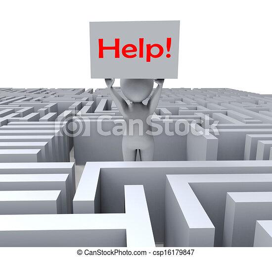 λαβύρινθος , αποδεικνύω , βοήθεια , αόρ. του lose , σήμα  - csp16179847
