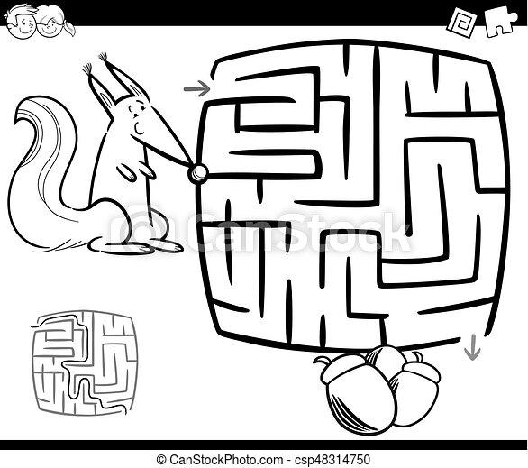 λαβύρινθος , μπογιά , σκίουρος , σελίδα  - csp48314750