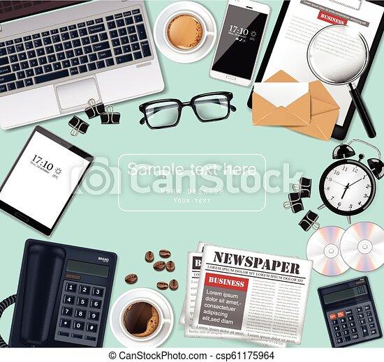λεπτομερής , γραφείο , γυαλιά , laptop , γραφείο , realistic., εξάρτημα , μικροβιοφορέας , εφημερίδα , cds , διευκρίνιση , εφόδια , 3d  - csp61175964