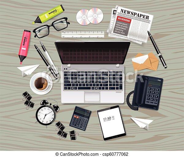 λεπτομερής , θέτω , γραφείο , επιχείρηση , realistic., laptop , γυαλιά , συλλογή , εξάρτημα , μικροβιοφορέας , διευκρίνιση , εφόδια , τσάντα , 3d  - csp60777062