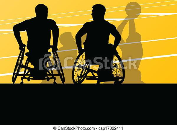 λεπτομερής , καλαθοσφαίρα , περίγραμμα , αναπηρική καρέκλα , άντρεs , εικόνα , ανάπηρος , ηθοποιός , γενική ιδέα , μικροβιοφορέας , φόντο , δραστήριος , αγώνισμα  - csp17022411