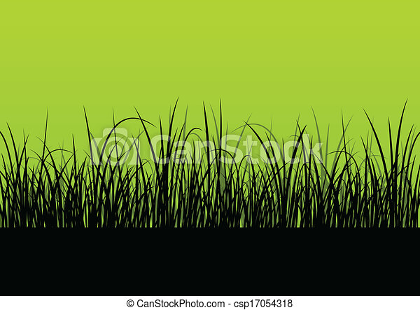 λεπτομερής , περίγραμμα , αφίσα , εικόνα , μικροβιοφορέας , φόντο , φρέσκος , γρασίδι , τοπίο  - csp17054318